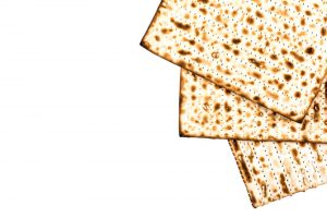 three pieces of matzah for the Passover meal
